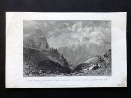 Allom 1835 Print. View from Langdale Pikes, Looking towards Bowfell, Westmorland